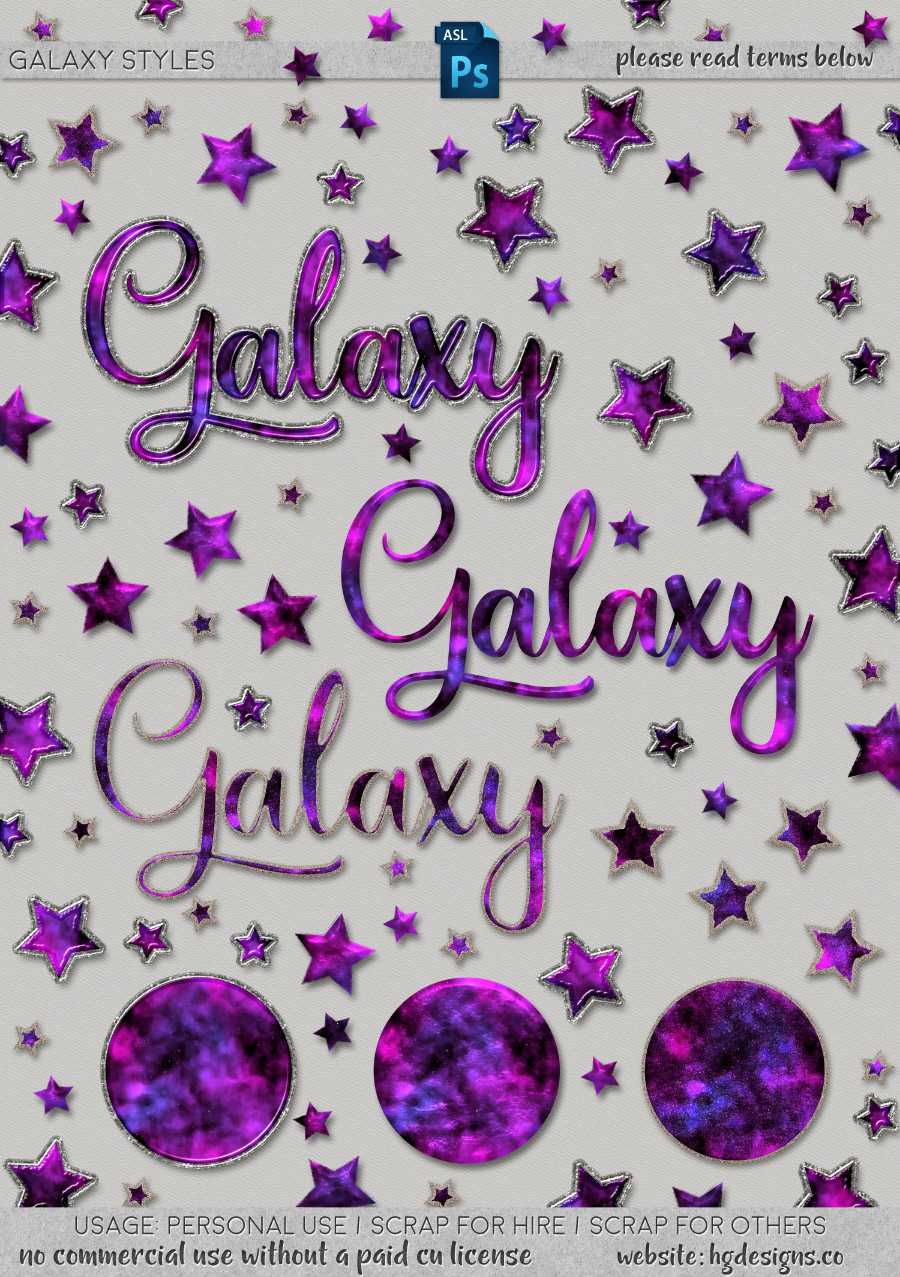 freebie: purple galaxy Photoshop layer styles