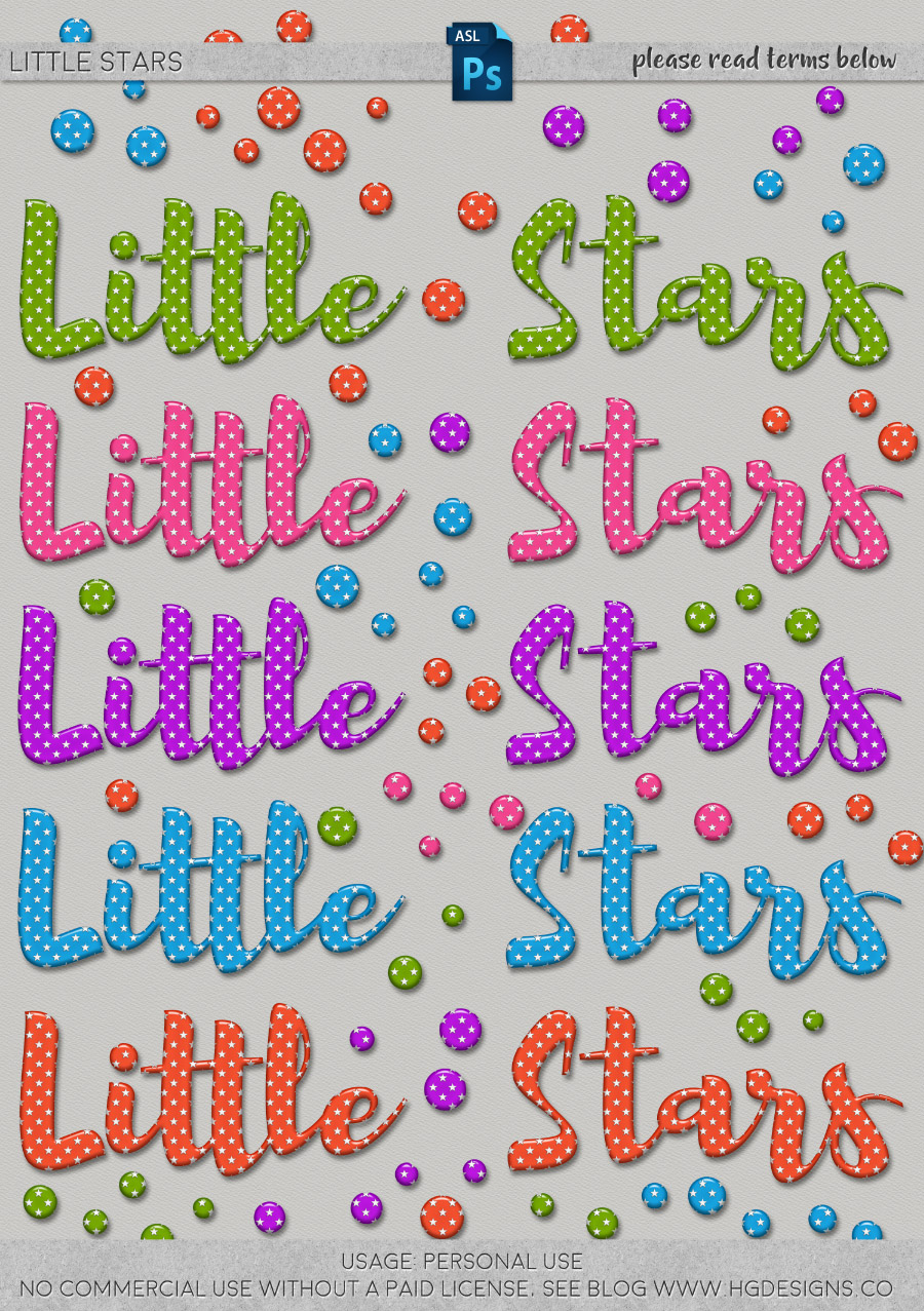 free download ~ little stars photoshop layer styles