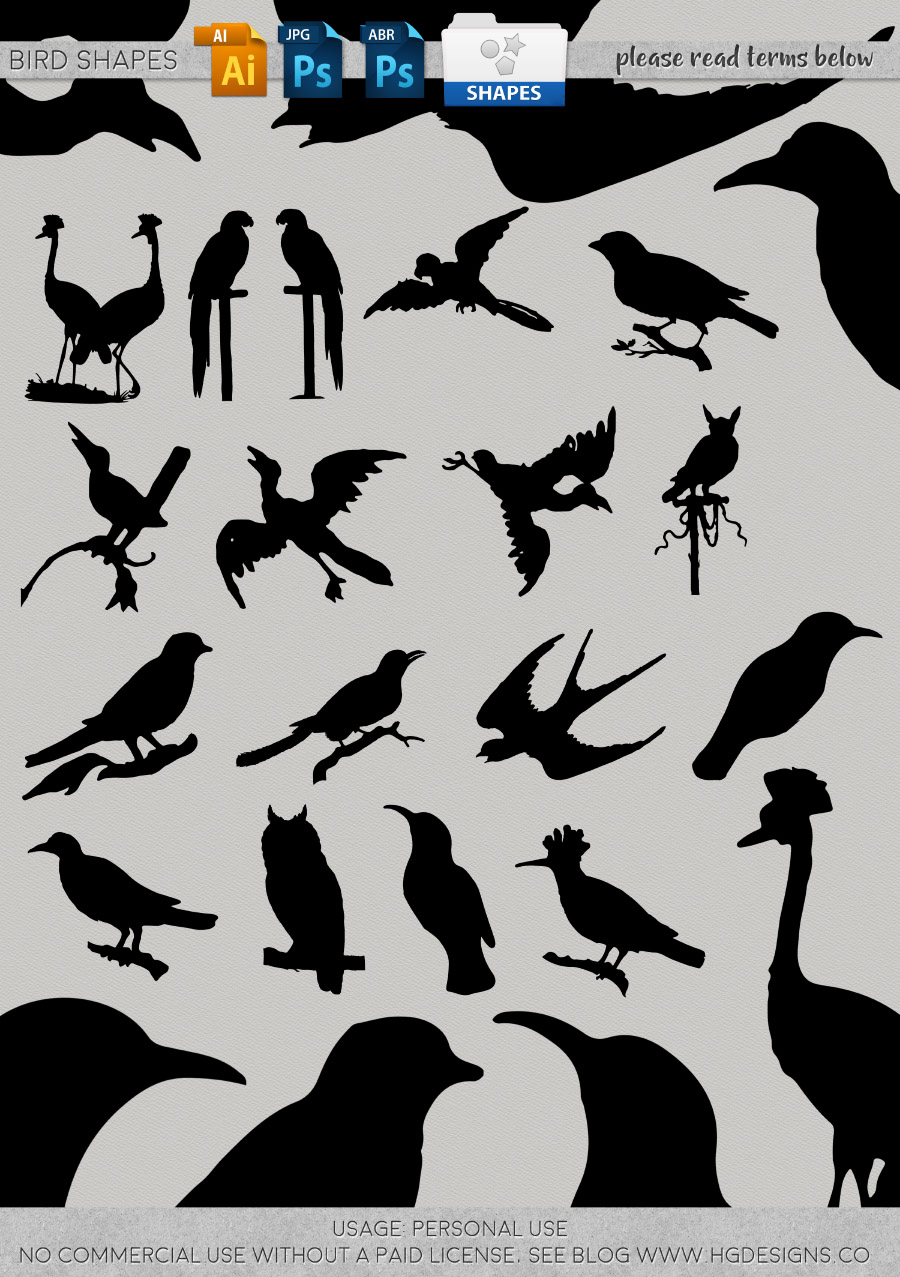 freebie: bird shapes brushes, vectors, jpg and more