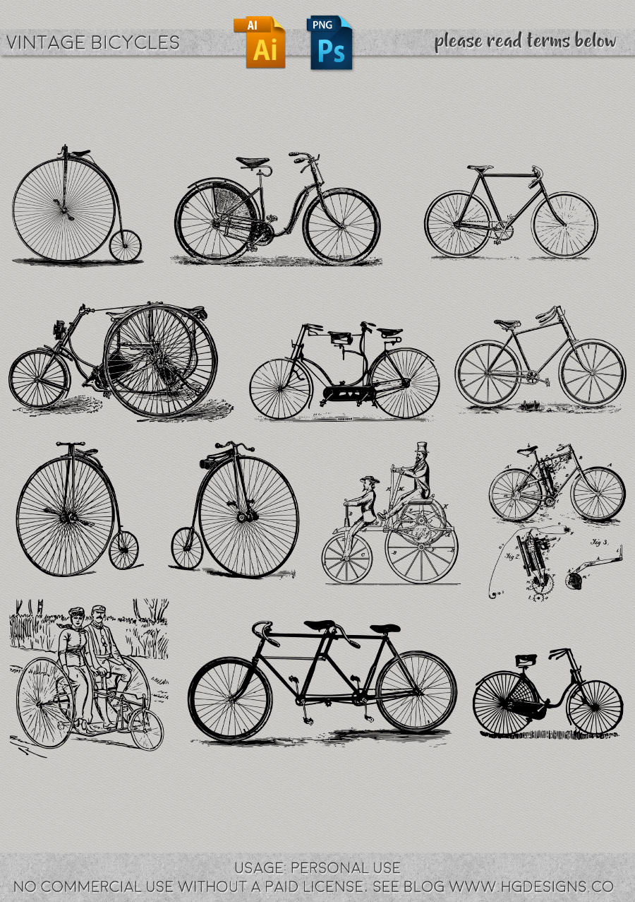 freebie: vintage bicycle graphics