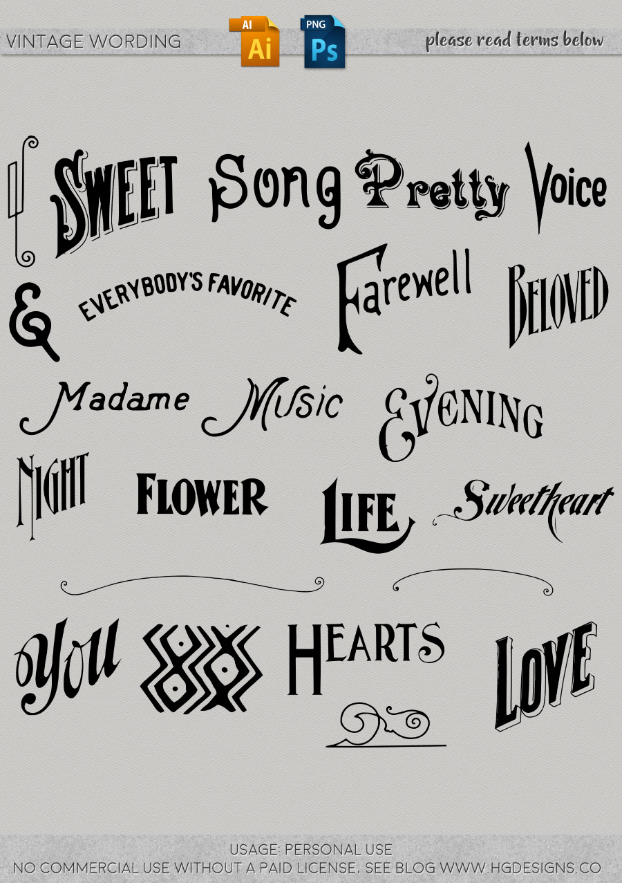 freebie: vintage wording png and vectors