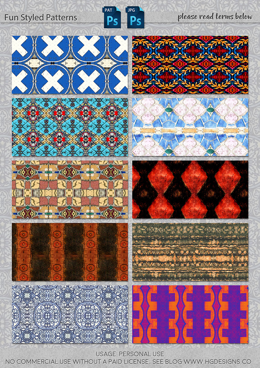 freebie: fun styled seamless tiling patterns