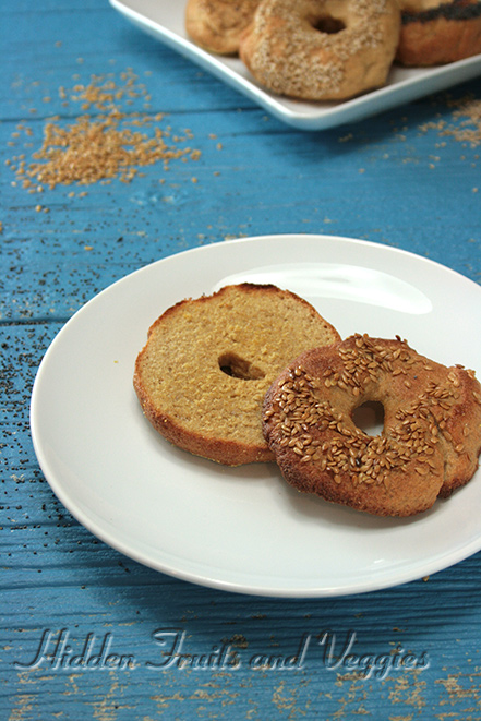Whole Wheat Bagels from @Hiddenfruitnveg (Just happen to be vegan, too!)