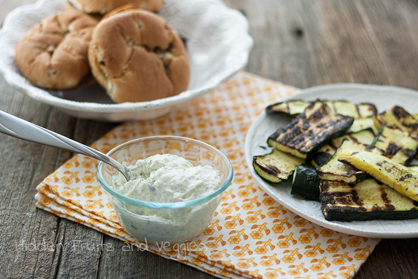 Grilled Zucchini Sandwich with Herb Cheese Spread