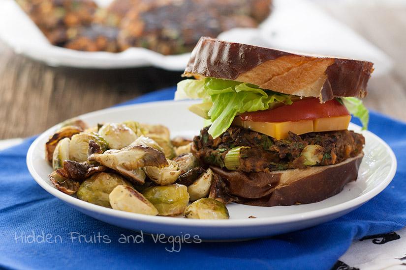 Barbeque Black Bean, Kale, and Sweet Potato Veggie Burgers