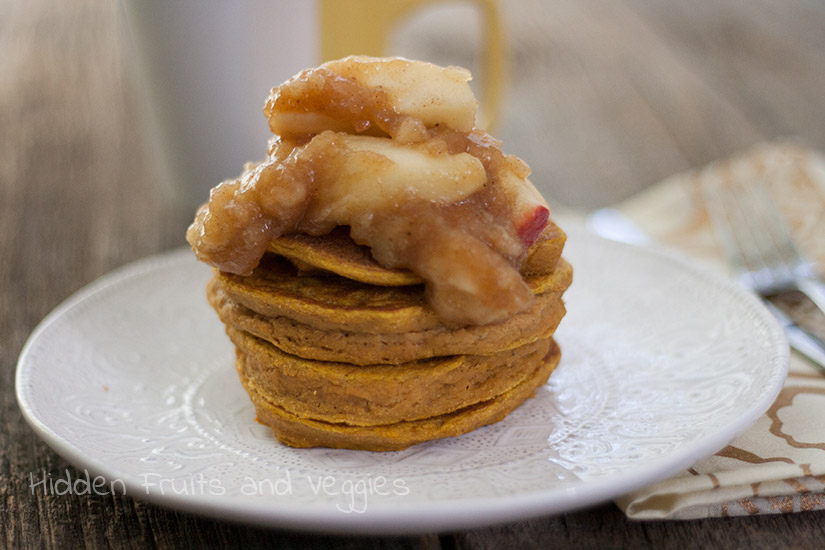 Pumpkin Pancakes with Apple Pie Topping