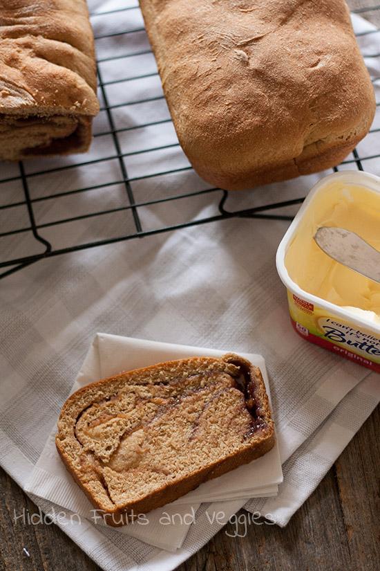 My Favorite Whole Wheat Bread + PBJ Swirl Bread @hiddenfruitnveg