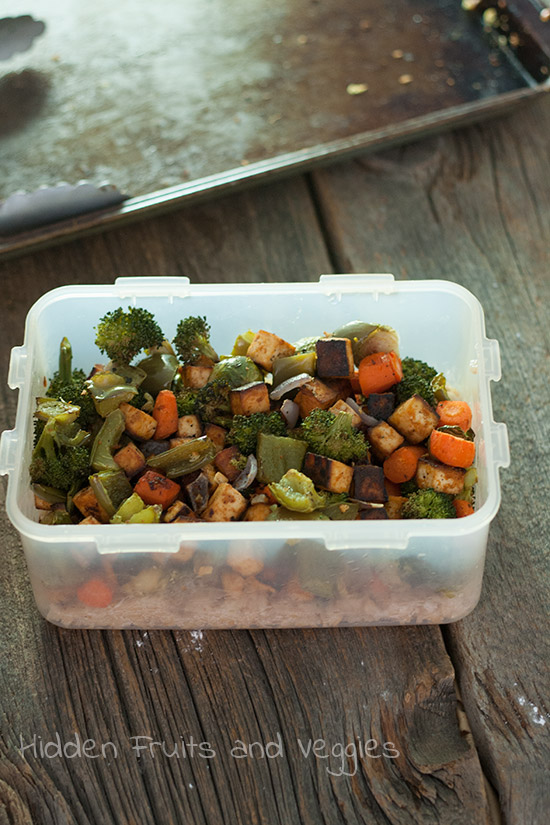 Oven Roasted BBQ Tofu and Veggies @hiddenfruitnveg