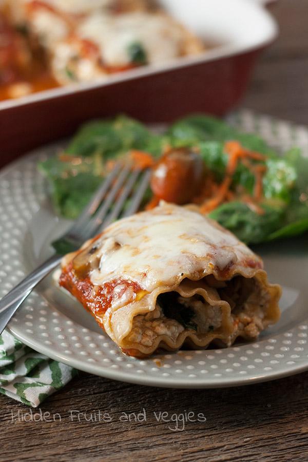 Mushroom Spinach Lasagna Rolls @hiddenfruitnveg