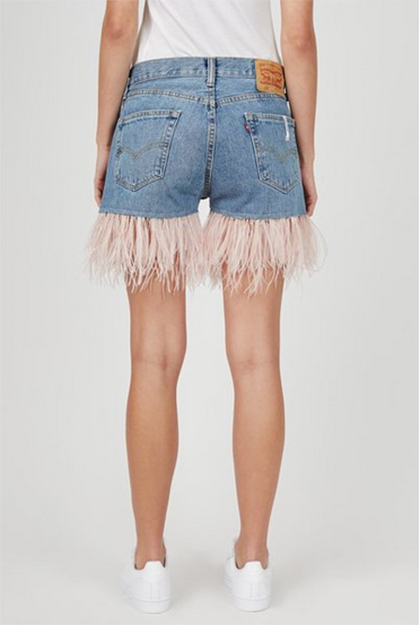 feather trim jean shorts opening ceremony