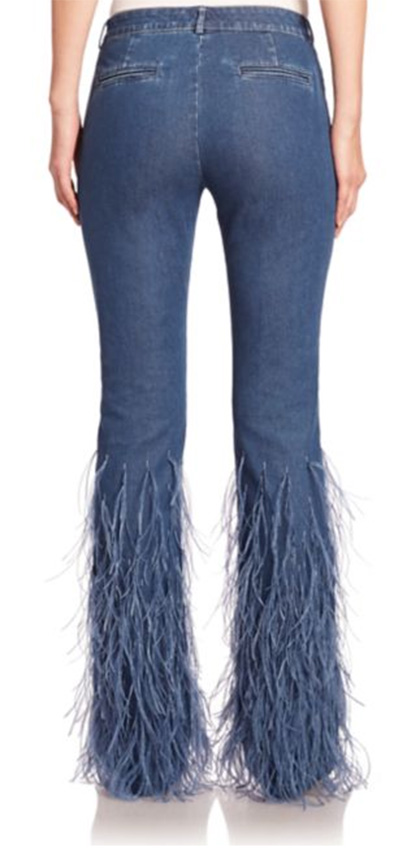 denim ostrich feather jeans 2