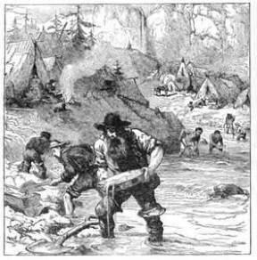 The Gold Rush, gold-washing in California, 1849.