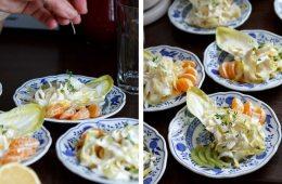 Chicorée mit Kiwi und Mandarinen