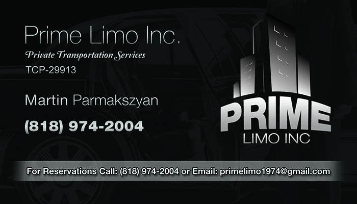 Prime Limo Business Card Back