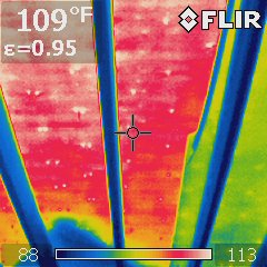 The heat of the roof observed from inside