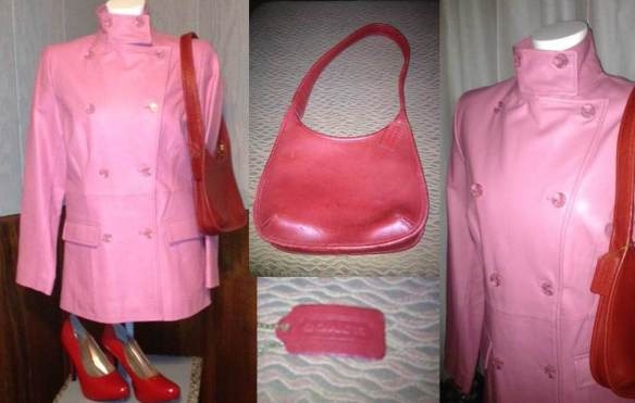 Pink 100% genuine leather coat, authentic red Coach bag, red Charlotte Russe heels