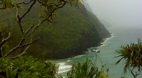 The first view of Hankapi'ai Beach beneath the Kalalau Trail