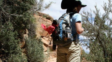A hiker on the Grand View Trail in Grand Canyon