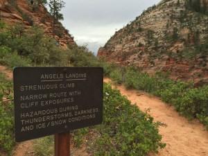 Angels Landing warnings