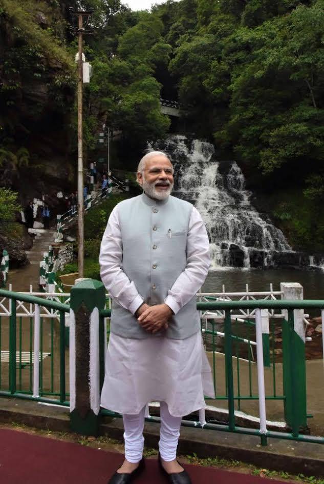 PM Modi, Meghalaya Falls