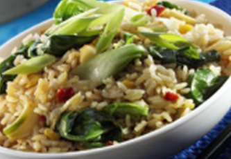 brown rice asian greens