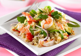 Hinode rice: Thai Prawn and Rice Salad recipe