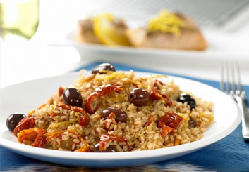 Hinode rice: mediterranean rice with sun dried tomatoes.