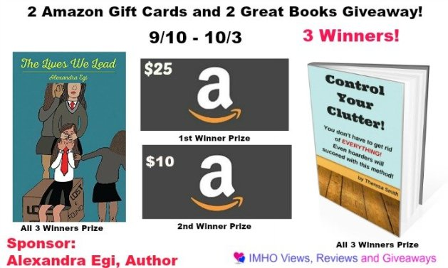 2 Amazon Gift Cards and 2 Great Books Giveaway ends 10-3