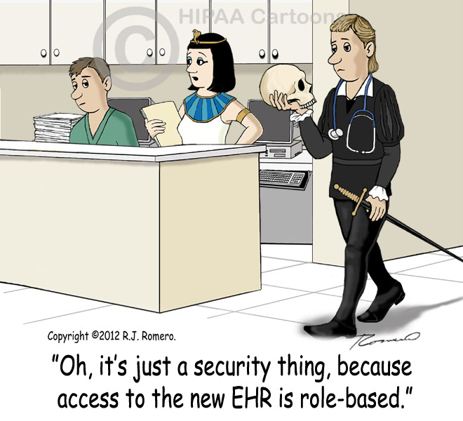 Cartoon-Nurse-tells-new-nurse-that-access-to-EHR-is-role-based_emr122