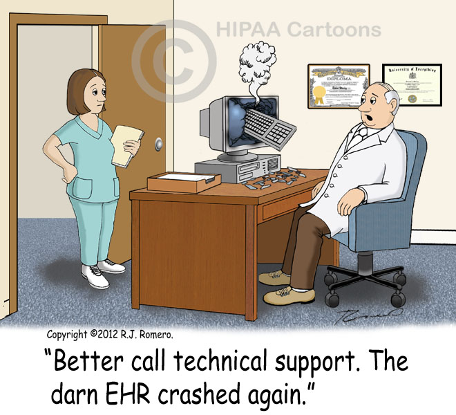Cartoon-Doctor-tells-nurse-to-call-technical-support-because-EHR-crashed_emr125