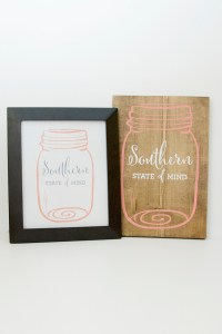 Southern State of Mind Mason Jar free printable and board