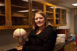 donna talarico holding brain model