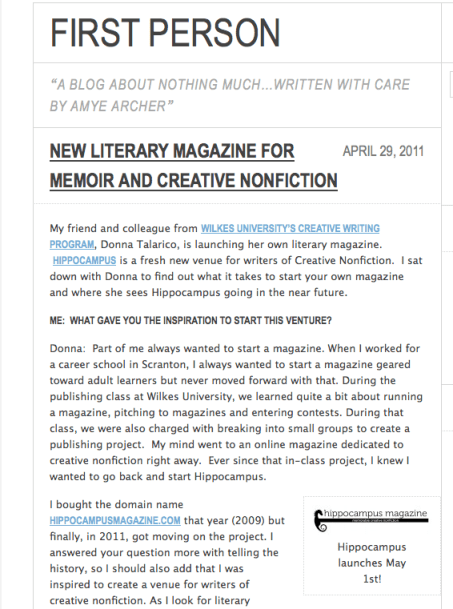 screen shot of Amye Archer's blog post about hippocampus