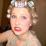 jessi teevan with hair in rollers