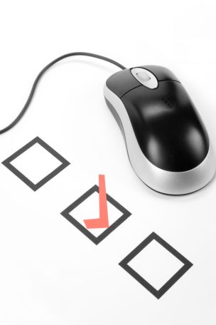computer mouse with survey checkboxes