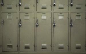 row of beige lockers