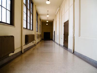 empty school hallway in older school building
