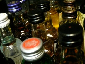 small bottles of hard liquor