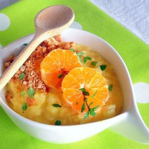 Arborio Rice Pudding with Mandarin Coins, Amaretto Cookie Crumbs and Thyme