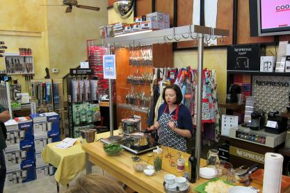 Laura Pazzaglia explains pressure cooker opening methods at Lodi Cooks.