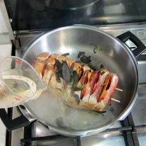 Turn off heat, add white wine and pressure cook.