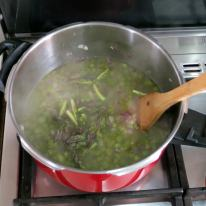 Add asparagus micro stock, salt and tips.