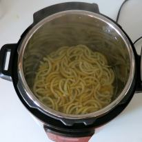 Boiled stirps after pressure cooking.