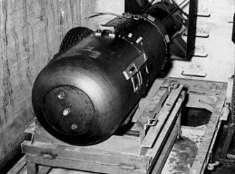 LIttle Boy Bomb awaiting to be loaded into the Enola Gay
