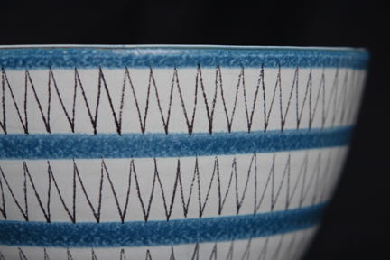 detail from large vintage bowl designed & decorated by Stig Lindberg for Gustavsberg of Sweden
