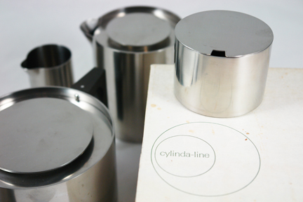 vintage 1960s Cylinda-line tea set with original box designed by Arne Jacobsen for Danish manufacturer, Stelton