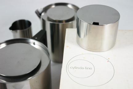 vintage 1960s Cylinda-line tea set with original box designed by Arne Jacobsen for Danish manufacturer, Stelton