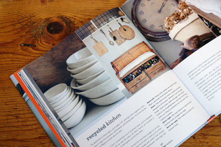 "vintage crockery and kitchenalia images on the opening page of the ""Recycled Kitchen"" chapter"