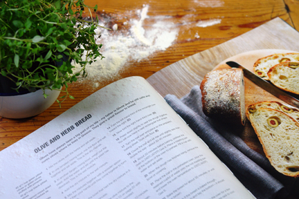 "olive "" herb bread recipe from the ""How to Make Bread"" book"