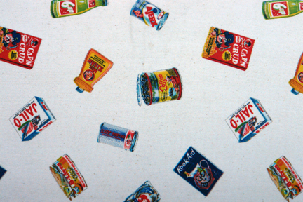 vintage Wacky Packages patterned fabric designed for VIP Fabrics Inc in the 1960s